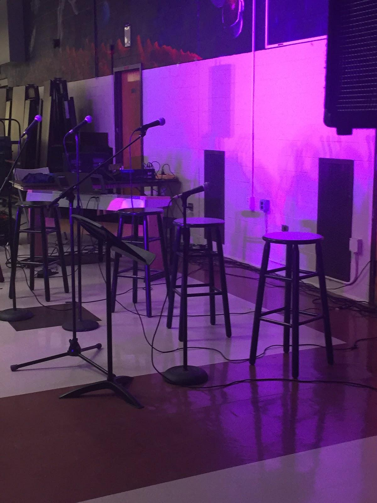 A view of the stage setup for Coffeehouse XLI
