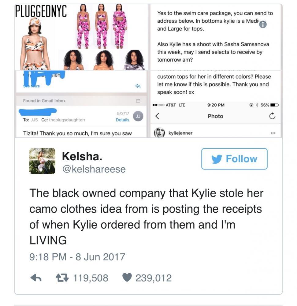 Twitter user @kelshareese hopped on the trending topic regarding Jenner stealing designs from the popular company, PluggedNYC.