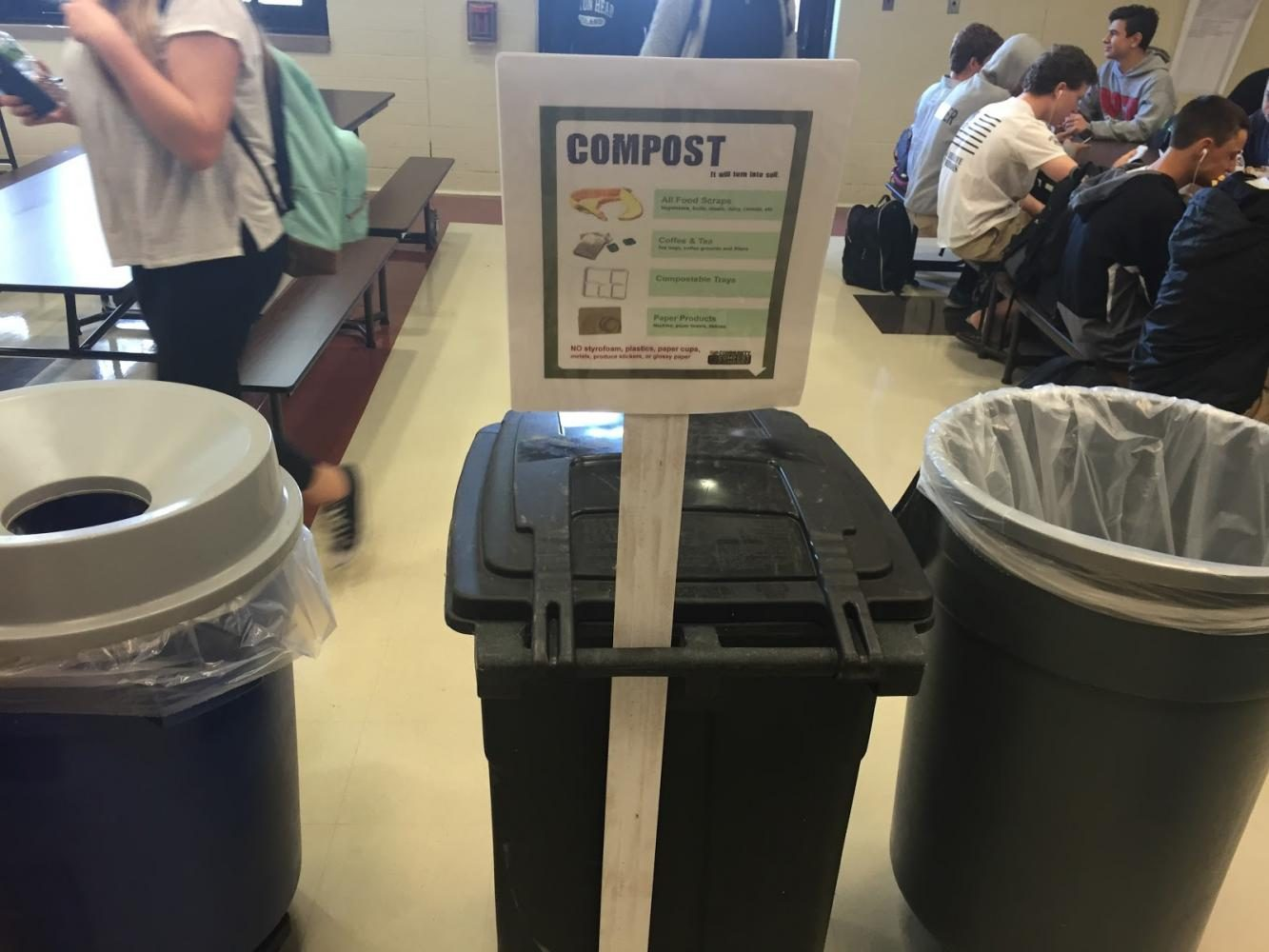 In+the+first+week+of+May%2C+the+compost+bin+was+finally+put+in+the+cafeteria+for+students+to+use+during+lunch.+Environmental+students+sat+near+the+compost+bin+to+encourage+and+remind+students+they+now+have+the+option+to+compost.