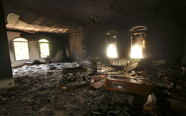 The+haunting+image+of+the+burned-out+US+consulate+building+in+Benghazi+stands+as+testament+to+the+terrorist+attack+overseas+on+September+11th%2C+2012.++
