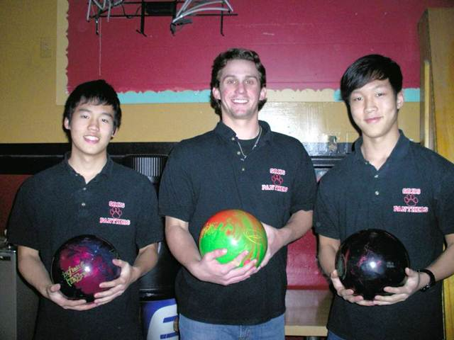 Senior bowlers (from left to right) John Hirakawa, Tyler Blind, and Jon Shin hope to win both county and state tournaments this year -- and are off to a strong start.
