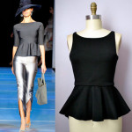 Peplum in pictures: a fitted top with a bell-shaped bottom that flairs out.