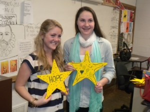 These Stars of Hope will be sent to the school where the youngest victim of the Boston bombing attended.