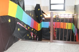 Borrowing from Super Mario Kart, this Rainbow Road-themed stairwell welcomed visitors to their hallway.
