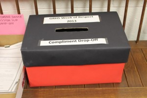 Filling up with respect, this box is where students drop off their compliments.