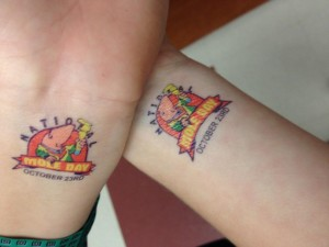 Each chemistry student got a Mole Day tattoo to wear around with pride.