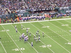 The Jets line-up on defense before a play.
