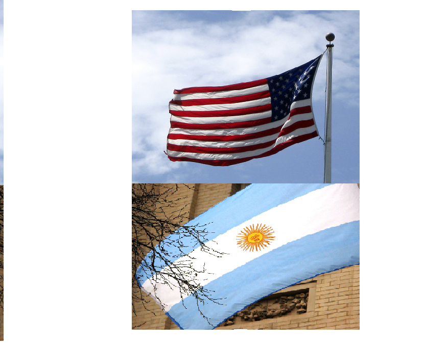 The flags of The USA and Argentina