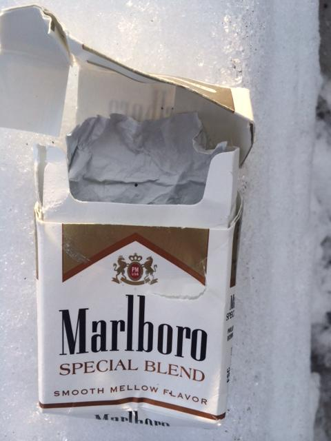An empty cigarette pack, which can no longer be found at CVS