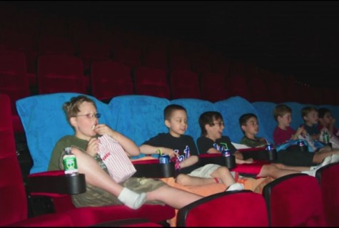 Together with his friends, Christopher Barron watched a special screening of Spiderman with his friends before the movie theater opened to the public.
