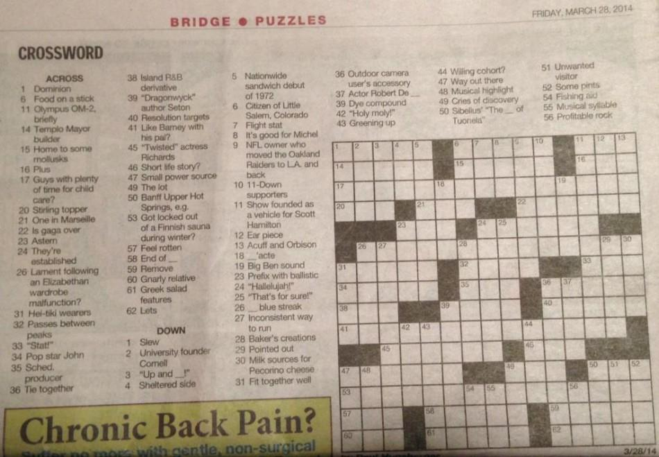 Crossword from The Record. (Friday March 28th, 2014)