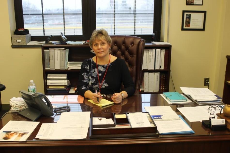 Seen here in her office, Dr. Paula Valenti, Superintendent of Glen Rock schools, works to ensure the smooth day-to-day operations of the entire district.
