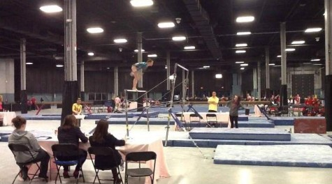 Although injured, Struble has begun to perform the bars event as she recovers from her accident.