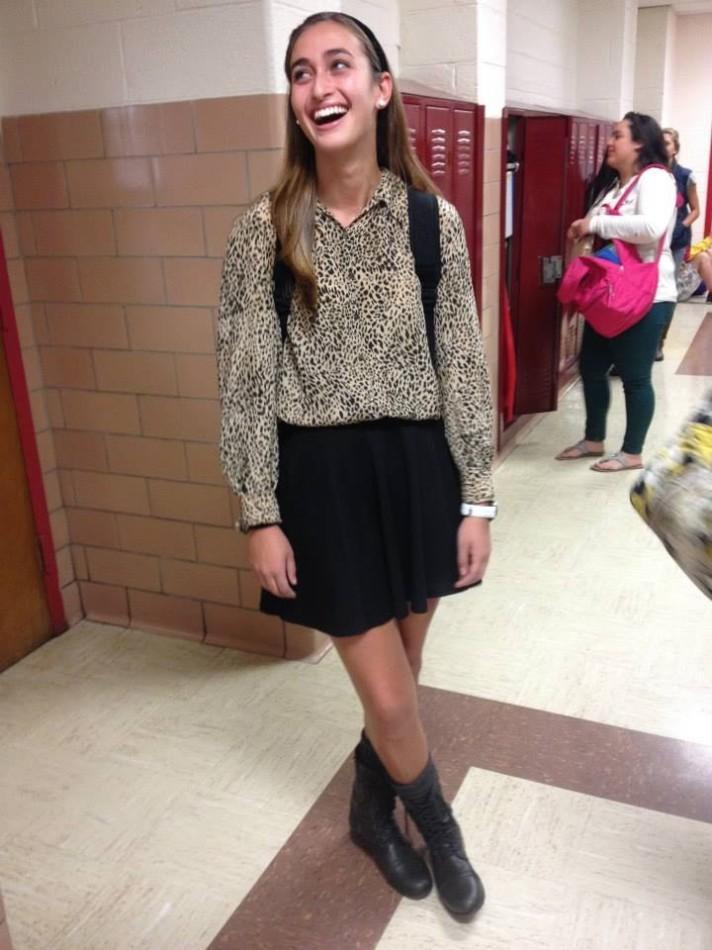 Rebecca Nathanson in her typical school attire.