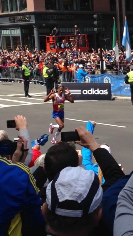 American, Meb Keflezighi, finishing the 118th Boston Marathon.