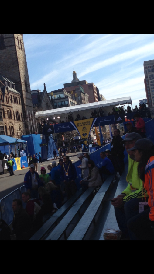The view of the finish line from the VIP bleachers.