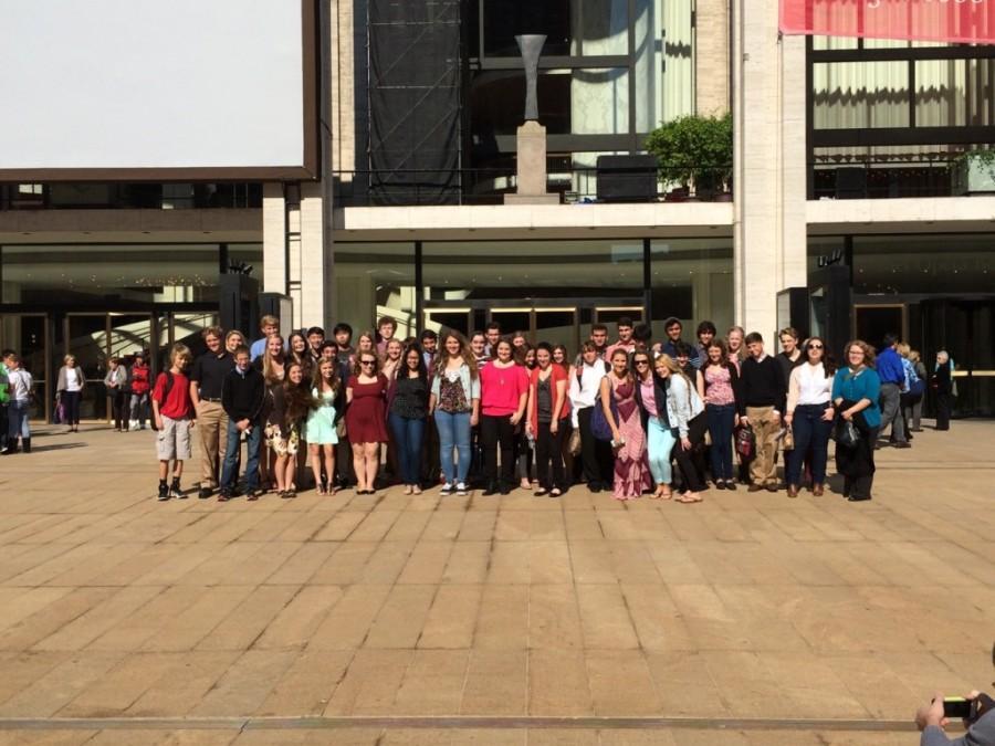 Glen Rock students waited outside of the Metropolitan Opera House in mid-September.