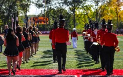 The Glen Rock Marching Band playing before the game.