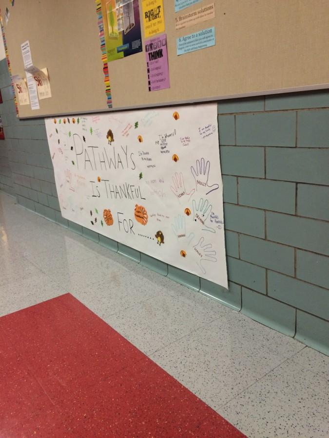 A sign the kids at Pathways made at the annual Thanksgiving event to show what they 're thankful for.