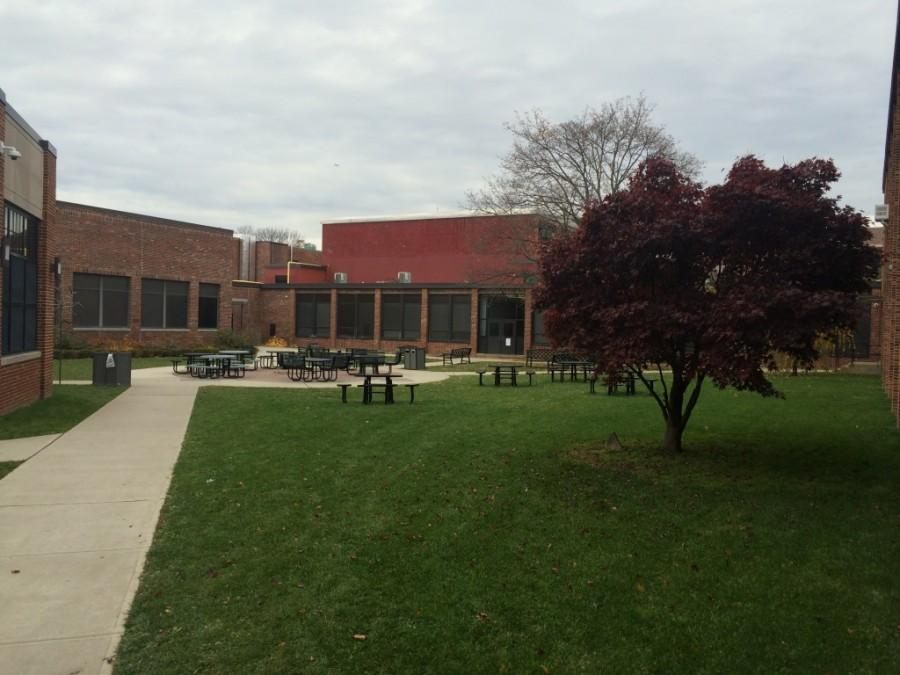 The empty courtyard as the winter weather approaches.