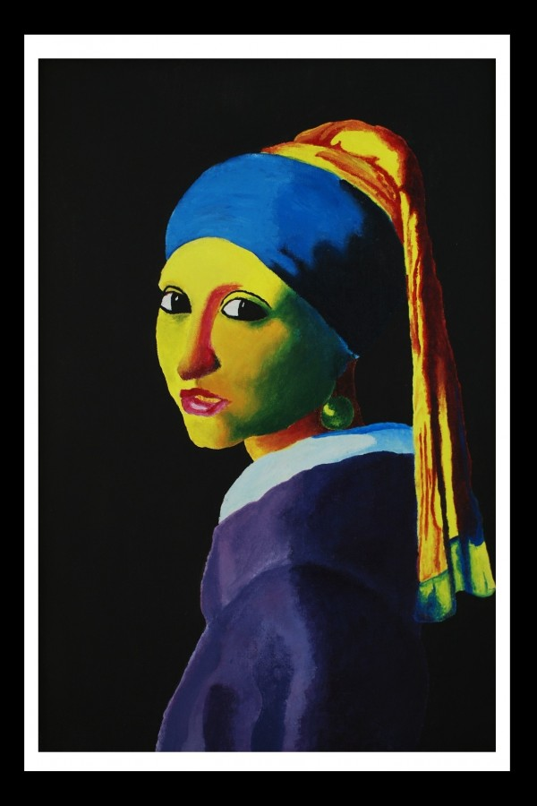 Quinn took the infamous portrait of the Girl with the Pearl Earring by Johannes Vermeer, and painted it in the Fauvist Style- characterized by its decorative composition and vivid palette.