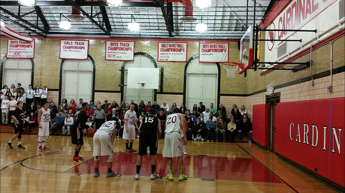 Khalil Williams taking a foul shot towards the end of their first game which they won 61-55.