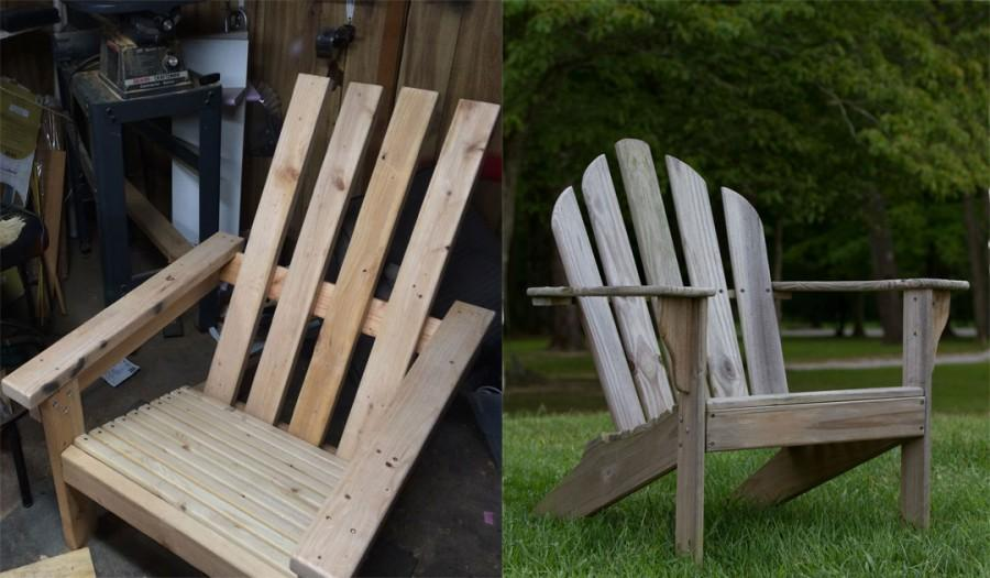 O'Connell's own creation, left, mimics the traditional Adirondack chair, right, while incorporating his own vision.