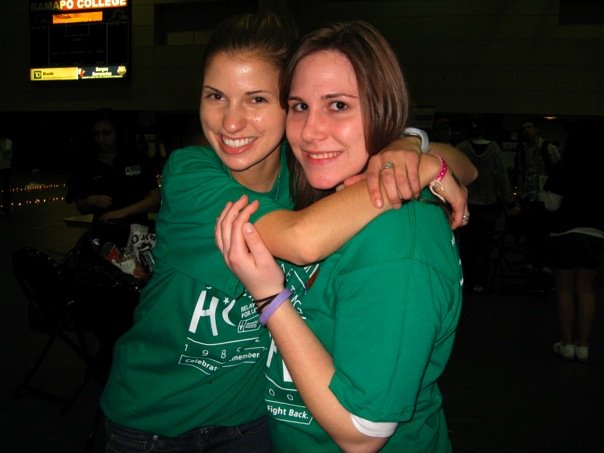 Kaitlin Cheico (right) and her friend Kait O'Donohue (left) at their college Relay for Life