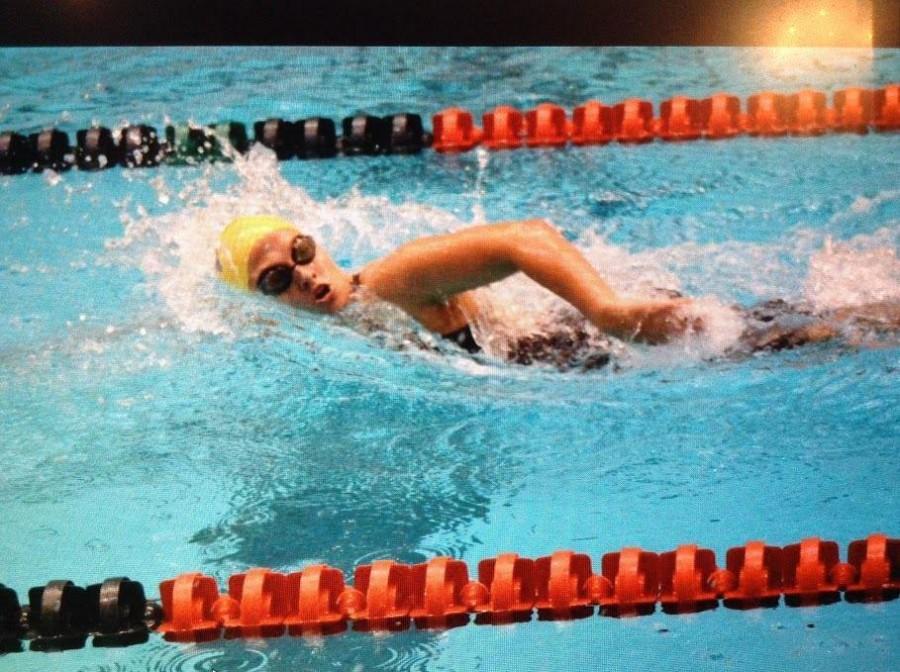 Bridget swimming freestyle.