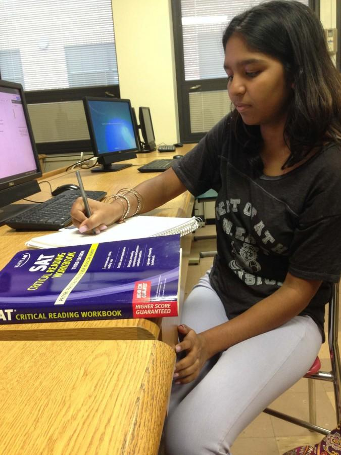 Glen Rock High School freshman Mia Ramdayal studies for the SAT test.