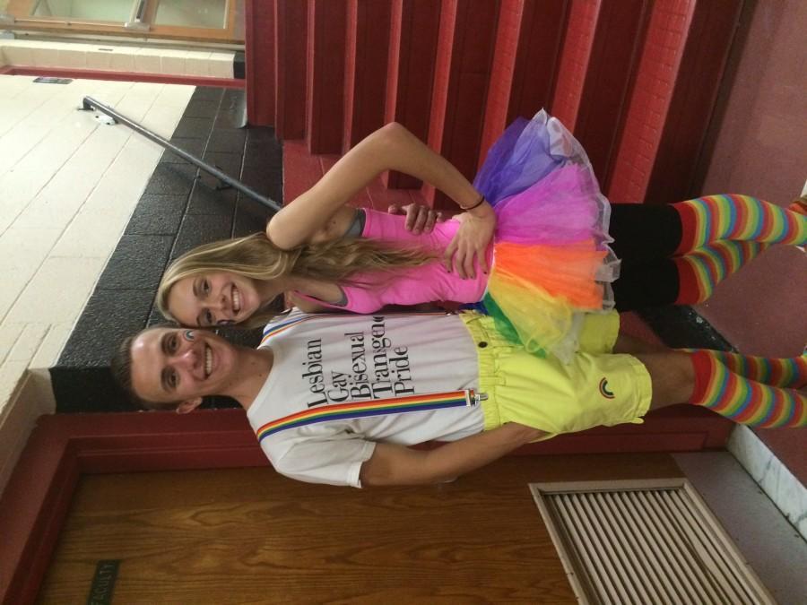 Jordan McMahon ('16) with his sister Rachel McMahon ('18) wearing their Rainbow Day attire.