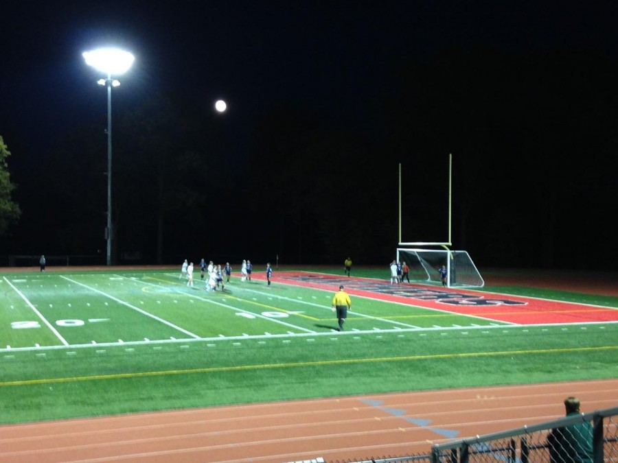 Glen Rock prepares for a corner kick that would lead to their first goal of the game.