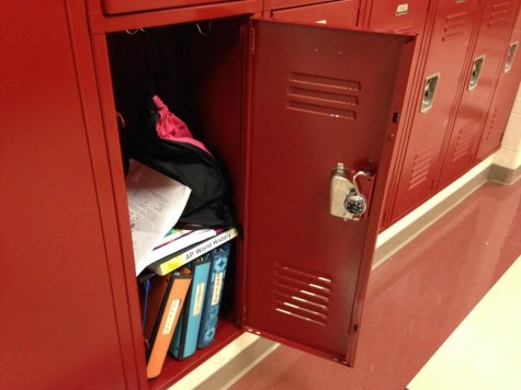 Emptied, latched locker signals security shift for hallways