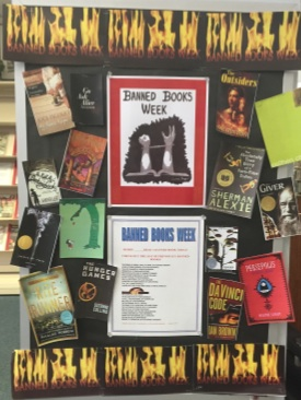 Banned books week poster in the Glen Rock's Middle/High School Media Center