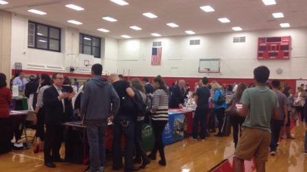 It did not take long for the middle school gym or the cafeteria to fill up with students looking for their perfect college.