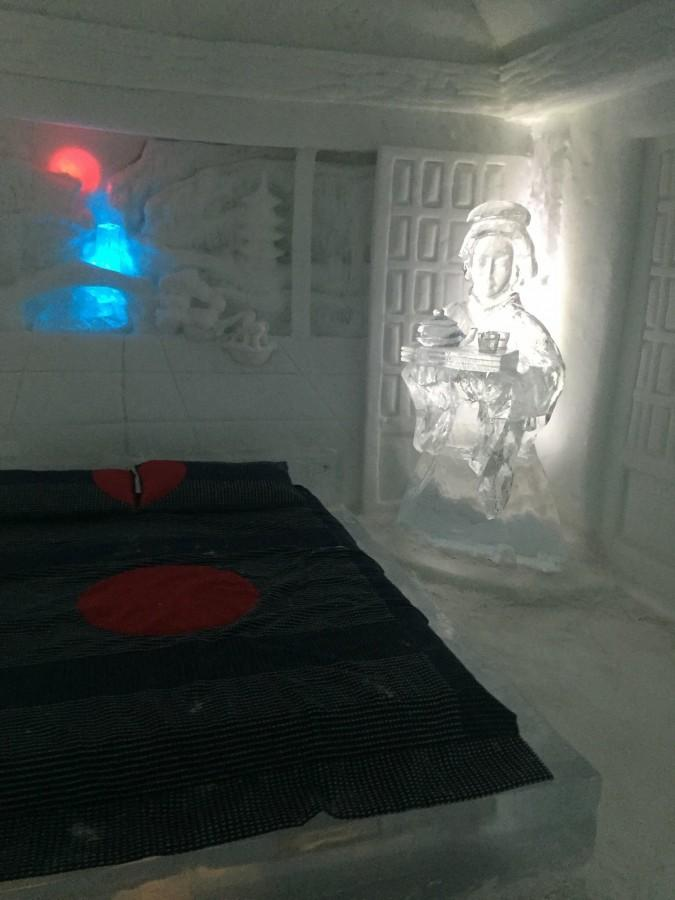 Inside one of the rooms at the Ice hotel, located 10 minutes outside downtown Quebec City.