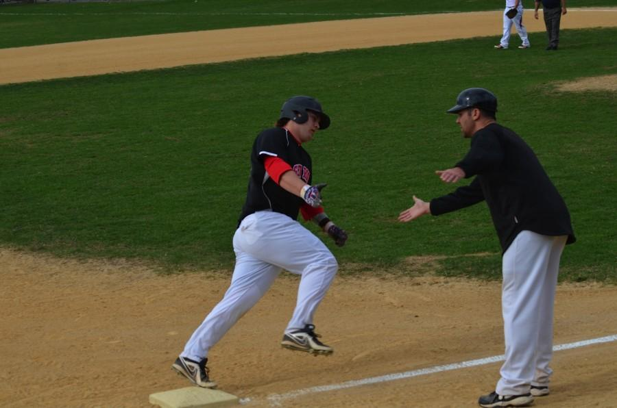Lange rounding the bases after a homerun against Elmwood Park