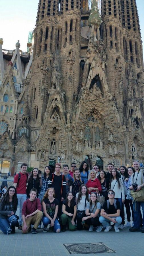 Students at La Sagrada Familia in Barcelona