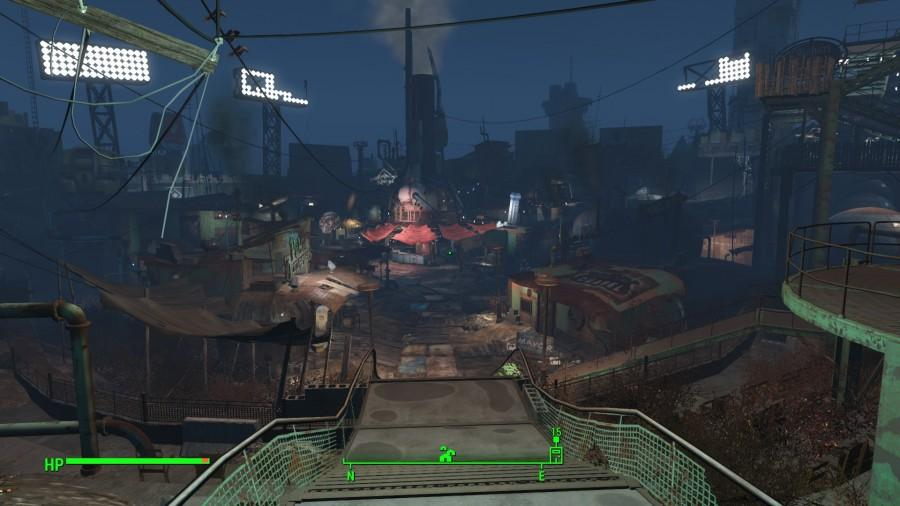 Entering Diamond City at night. A Market built in Fenway Park