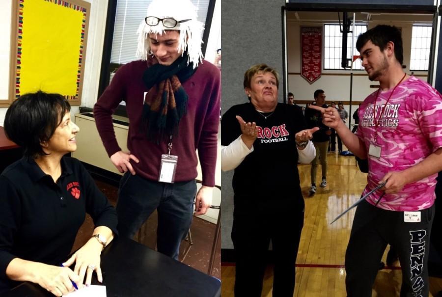 Joe Hilzinger dressed as spanish teacher, Ms. Kirsys Guavarez and Mike O'Hagan dressed as physical education teacher, Ms. Zimmermann