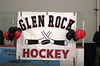 A Glen Rock Hockey banner at the hockey teams senior night, 2015.
