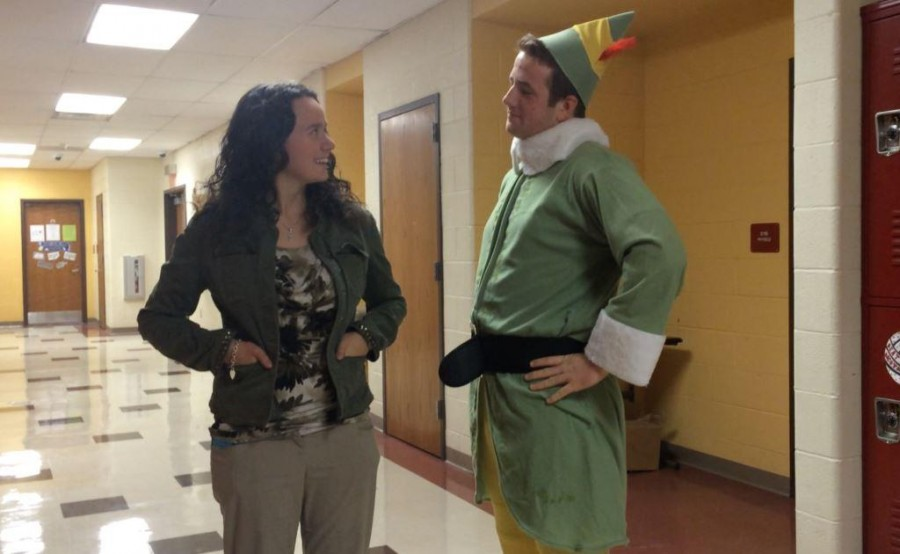 Zach Mulcahy (16) was dressed as Buddy the Elf when he interviewed physics teacher, Ms. Elana Resnick, for his winter slideshow presentation.