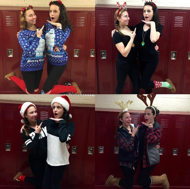 Emily Pensec and Kaylie Ernst have unique matching outfits for 25 days leading up to Christmas.