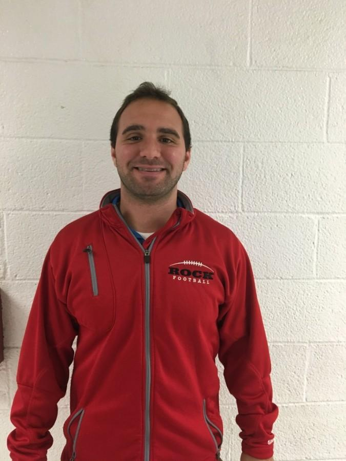 New Physical Education teacher Mr. Michael Escalante representing Glen Rock Football prior to the MetLife sectional finals this Friday.