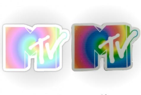 Redbubble MTV sticker versus Heavy Dirty Stickers MTV sticker.