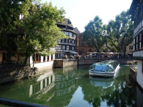 River boats like this is a common site in Strasbourg. This boat is on one of the rivers in the Petite France neighborhood.