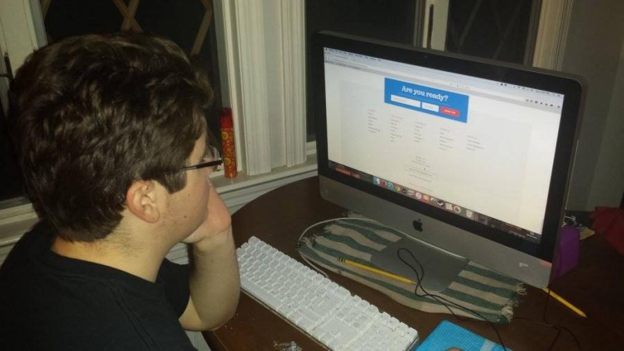 Cluadio Liberti (16) looks at Bernie Sanders official campaign website. Claudio has thrown his support behind Sanders.