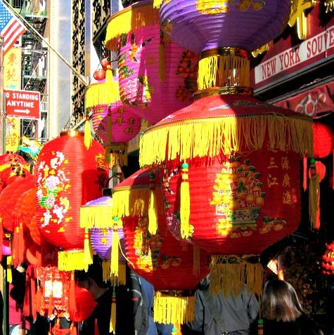 The Chinese lanterns envelop the streets.