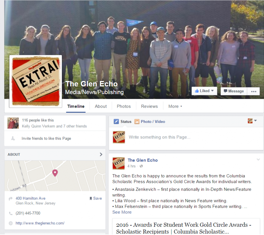 Launched in January, the Facebook Page for The Glen Echo promotes content, shares news, and connects with local citizens.