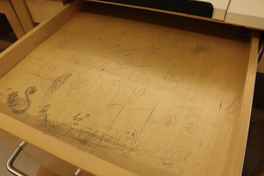 Graffiti found in one of the desks in the CAD lab